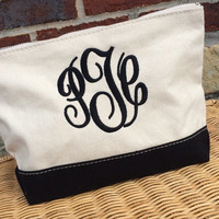 Monogrammed Canvas Toiletry Makeup Case Travel Kit  Font shown MASTER CIRCLE in black