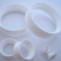 White THIN Silicone Tunnels (6 gauge - 1 inch)