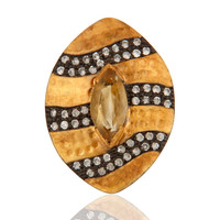 Natural Citrine Gemstone 925 Sterling Silver Gold Vermeil Hammered Ring With CZ