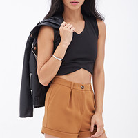 FOREVER 21 Textured Woven Shorts Mustard