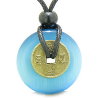 Lucky Coin Magic Powers Amulet Sky Blue Cats Eye Crystal 30mm Donut Pendant Necklace