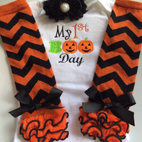 Baby Girl 1st Halloween Outfit - Halloween baby costume outfit - my first boo day - personalized baby outfit - halloween legwarmers
