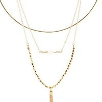 Gold Beaded Chain & Choker Necklaces - 3 Pack by Charlotte Russe