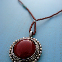 Ruby Red Faery Pendant - vintage beaded necklace with burgundy medallion - boho, ethnic, tribal, fusion