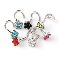30PCS Nose Ring Fashion Flower Body Jewelry Nose Stud Stainless Surgical Steel Nose Piercing Mix Color Crystal Stud