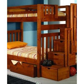 Elliot Honey Bunk Bed with Stairs and Shelves
