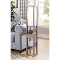 Lamp With Small Drawer and Shelves, Light Brown
