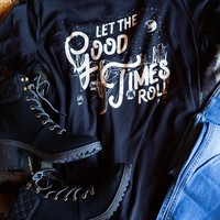 Let The Good Times Roll Graphic Tee, Black