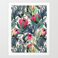 Painted Protea Pattern Art Print by Micklyn