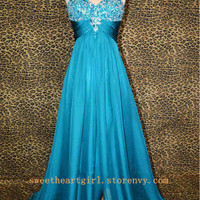 Sweetheart A-line blue rhinestones prom dress from Cute Dress