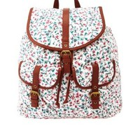 Floral Print Canvas Backpack by Charlotte Russe - Natural