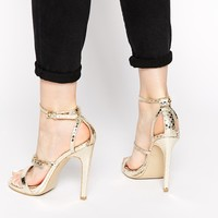 Head Over Heels By Dune Mermaide Gold Barely There Heeled Sandals