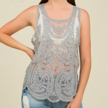 Scalloped Edge Lace Tank - Grey - S/M only