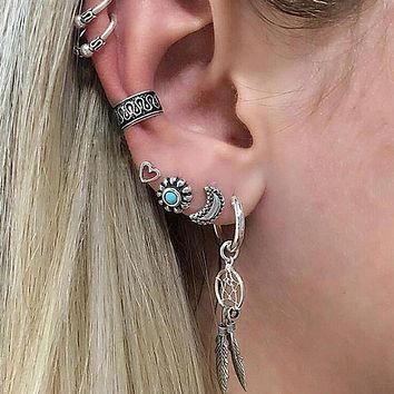 Boho Stacking Earrings Set 7 Pieces Silver Dangle Dreamcatcher Turquoise Stud Ear Cuffs Heart Crescent Moon Gypsy Festival Jewelry