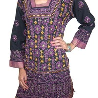 Women India Clothing Designer Tunic Long Kurta Floral Embroidered Lace Work Small (Black)