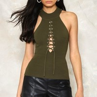 LACE UP KNIT RIB TOP