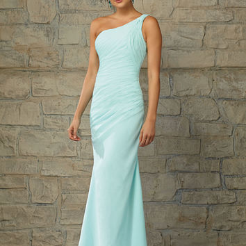 Full Length Luxe Chiffon One Shoulder Morilee Bridesmaid Dress with Draping   Style 20452   Morilee