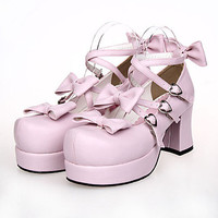 SALE 35% Off Pastel Pink Strap PU Leather 3 inch Platform Lolita Shoes Detachable Bows with Heart Buckles Euro42/USA10.5