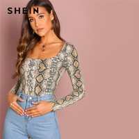 SHEIN Multicolor Going Out Highstreet Elegant Snake Pattern Square Neck Pullovers Tee Autumn Women Casual Women Tshirt Top