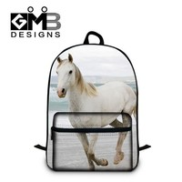 Cool Backpack school Horse 3D Printing Fashion Backpacks for boys Cool School Bookbags with front Pocket for students back pack lightweight for men AT_52_3