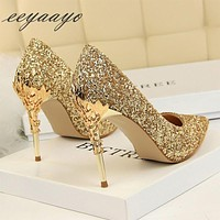 New Women's Pumps High Thin Heels Pointed Toe Sexy Bling Bridal Wedding Shoes Gold High Heels