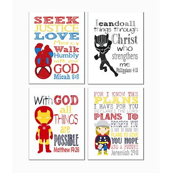 Superhero Christian Nursery Decor Art Set of 4 Prints - Spiderman, Black Panther, Ironman and Thor