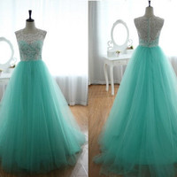 Custom Made Turquoise Lace Tulle Prom Dress Ball Gown Wedding Dress Bridesmaid Dress