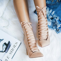 THE AVALON LACE UP BOOTIE - NUDE