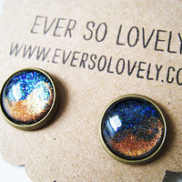 dark blue and copper tsunami sparkly metallic nickel free post earrings - summer nights and shooting stars