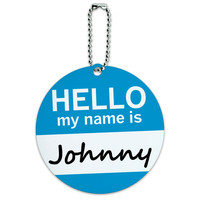 Johnny Hello My Name Is Round ID Card Luggage Tag