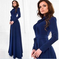 Prom Dress Round-neck Long Sleeve Shaped One Piece [7976013569]