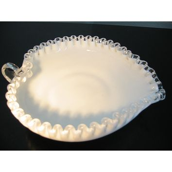 Fenton Milk Glass Heart Shape Signature Condiment Bowl