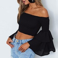 Off Shoulder Blouse Shirt Women Sexy Ruffle Short Blusas Butterfly Long Sleeve Beach CropTop