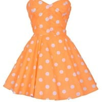 Pin-Up Orange Polka Dot Prom Party Dress | Style Icon`s Closet