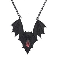 Gothic Vampire Bat Pendant Necklace Wine glass stone Goth Gift Witch Jewelry