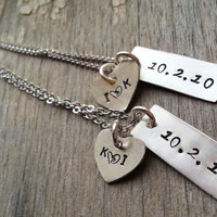 SALE 925 Sterling silver Statement  Necklace, Personalized with Heart Initials and Date for Couples Anniversary Gift, Wedding Couples Gift
