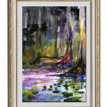 South Carolina Cypress Gardens Pond Lily Pads Watercolor Painting Landscape