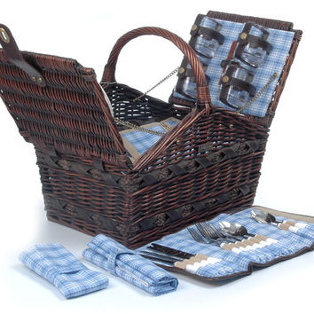 Willow picnic basket with deluxe for 4 Persons - The Marina Collection - A