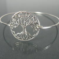 Silver Tree of Life Bangle Bracelet - Tree of Life Jewelry - Nature Jewelry -  Tree of Life Bracelet - Silver Jewelry - Stacking bangles