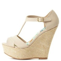 T-Strap Woven Platform Wedges by Charlotte Russe - Stone