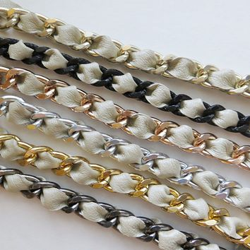 Champagne Leather Weaved Chain Bracelet - Choose your style