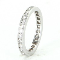 French Hallmarked Sz 6 3/4 Vintage Diamond Eternity Ring 18 Karat White Gold Estate