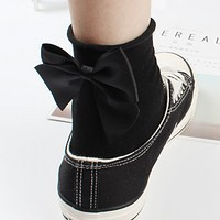 Autumn Winter Women All-match Fashion Solid Color Cute Bow Cotton Short Socks