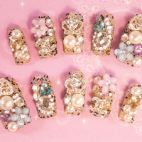 Cute Hime Gyaru Nail Art - Princess Caviar - 3D false fake press-on nail art - Japanese Nail Art - 3D Acrylic Nail Art