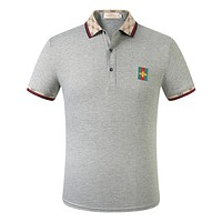 GG Red and Green Striped Double G Embroidered Bee Polo Shirt