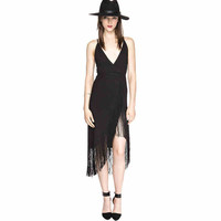 Black Criss-Cross Fringed Asymmetrical Dress