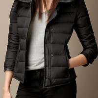Down Filled Leather Trim Jacket