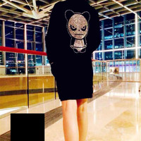 Black Angry Panda Diamond Studded Knit Sweater