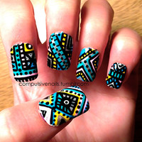 Intricate Aztec/Tribal Fake nails by CompulsiveNails on Etsy
