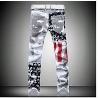 New style Fashion hot mens Designer Jeans men robin jeans Famous brand Denim with Wings American Flag